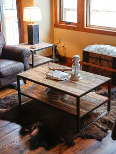 Rustic Steel & Reclaimed Barn Wood Coffee Table, Vintage  Industrial Chic, Side Table, Refined Industrial Coffee Table, Coffee Table