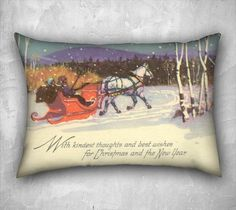 Christmas Pillow Cover Dashing Through The Snow Vintage Inspired Holiday Décor Image from Vintage Christmas Postcard Velveteen Pillow Cover - pinned by pin4etsy.com