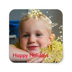 Gold Sparkly Snowflake Personal Photo Square Sticker - Xmas ChristmasEve Christmas Eve Christmas merry xmas family kids gifts holidays Santa