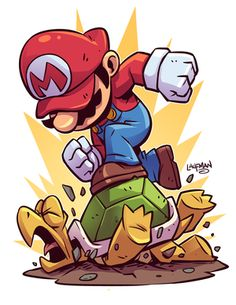 Drawing Superhero Chibi Mario Print — Derek Laufman - **Price is in US Dollars** Signed x Print on high quality gloss stock. Cartoon Kunst, Cartoon Art, Cartoon Characters, Mario And Luigi, Video Game Art, Video Games, Super Mario Bros, Game Character, Comic Art