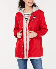 Tommy Hilfiger Fleece-Inset Hooded Jacket - Red S Pajama Romper, Blazer Jackets For Women, Plus Size Activewear, Jeans Dress, Jackets Online, Dresses With Leggings, Baby Clothes Shops, Trendy Plus Size, Tommy Hilfiger