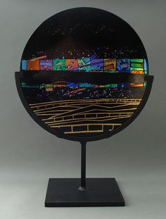 Confetti Waves by Sabine Snykers (Art Glass Sculpture) Fused Glass Art, Dichroic Glass, Stained Glass, Plates On Wall, Plate Wall, Light Reflection, Wall Sculptures, Glass Design, Black Glass