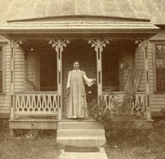 Laura Ingalls Wilder on the front porch of the home Almanzo built for them near Mansfield, Missouri. Love this!