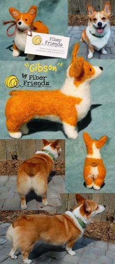 "Felt Corgi:  Custom Pembroke Welsh Corgi ""Fiber Friends"" - Mini Pet Portraits that match your pet. via Etsy."