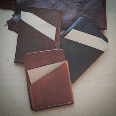 Minimalist card holders by LabrysLeatherworks on Etsy Card Holders, Minimalist, Wallet, Unique Jewelry, Handmade Gifts, Cards, Leather, Etsy, Vintage