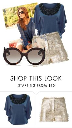 """""""Metallic shorts"""" by oudanne ❤ liked on Polyvore featuring jon & anna, Gianluca Capannolo and Prada"""