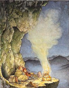 Soon they had a cheerful blaze on the ledge outside the cave.