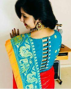 Unique Blouse Design with stripes and button on back Indian Blouse Designs, Blouse Back Neck Designs, New Saree Blouse Designs, Fancy Blouse Designs, Bridal Blouse Designs, Designs Kurta, Blouse Designs Catalogue, Sari Design, Lehenga