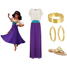 Esmeralda Disneybound by laurenruddell on Polyvore featuring Pieces, Yummie by Heather Thomson, MANGO, Kate Spade and Jack Rogers