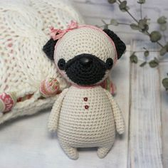 Crochet pattern for PUG  - crochet skill level: easy  ______________________________________________________  - pdf-file / 17 pages;  - ENGLISH (US terms) - GERMAN - RUSSIAN  - size 14 (if using the same materials )  ______________________________________________________  - detailed
