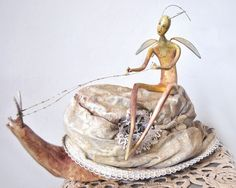 Doll Fairy and snail in a hat OOAK art doll  Нandmade doll Art sculpture by JuliasArtStore on Etsy