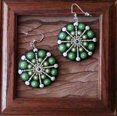 Green forest inspired Mandala wooden earrings 04 by Mandalaole