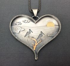 Sterling silver pendant with carved bone face. Small hearts with the letters (l-o-v-e) inside the heart box. Jewelry Chest, Heart Jewelry, Jewelry Art, Silver Jewelry, Jewelry Design, Mixed Metal Jewelry, Metal Clay Jewelry, Layered Jewelry, Metal Jewellery
