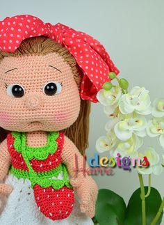 PATTERN Mia Doll With Starwberry Dress crochet por HavvaDesigns