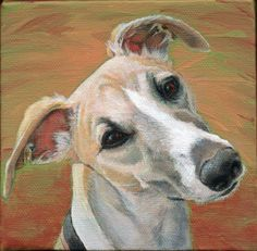 Dad and LillyRiley, pet portrait by Xan Blackburn, acrylic on canvas, greyhound portrait, whippet, pet and human portrait by Xan Blackburn, ...