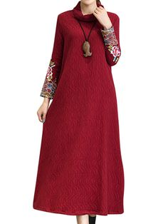 Vintage Ethnic Embroidery Turtleneck Long Sleeve Maxi Dress For Women