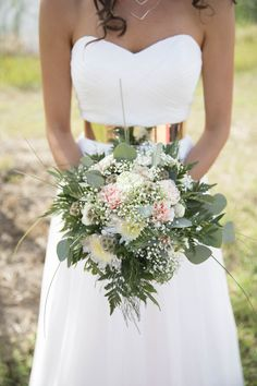 DIY Carnation, Baby's Breath and Scabiosa Pod Bouquet