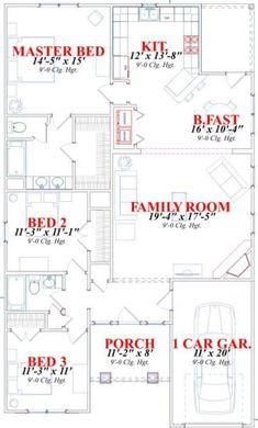 Craftsman Style House Plan - 3 Beds 2.00 Baths 1561 Sq/Ft Plan #63-152 Floor Plan - Main Floor Plan