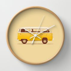 """Yellow Van"" Wall Clock by Speakerine / Florent Bodart on Society6."