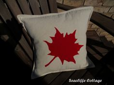 "maple leaf pillow - My version of BHG.com ""Maple Leaf Pillow""  Maple Leaf on a Muskoka chair...How Canadian is that :)  applique pillow cover"