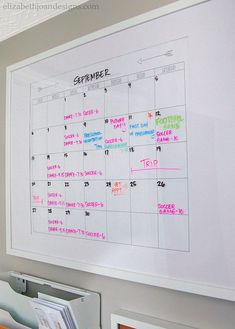 Create a Simple and Functional Command Center Dry Erase Calendar, Diy Calendar, School Organisation, Family Command Center, Study Nook, Washi Tape Diy, Study Office, Diy Frame, Picture Design