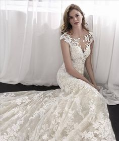 San Patrick 2018 exquisite mermaid wedding dress in embroidered tulle Wedding Dresses London, Off White Wedding Dresses, Wedding Dress Backs, Applique Wedding Dress, Wedding Dress Sleeves, Lace Dress, Sheer Wedding Dress, Vintage Inspired Wedding Dresses, 2015 Wedding Dresses