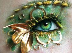 Steampunk Dragon - eye art by PixieCold Eye Makeup Art, Fairy Makeup, Eye Art, Gold Makeup, Beautiful Eye Makeup, Stunning Eyes, Amazing Eyes, It's Amazing, Awesome
