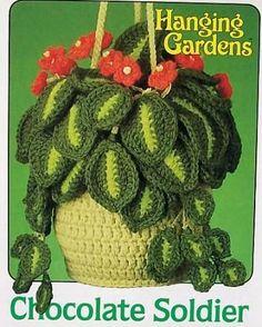 Crochet Hanging Gardens Chocolate Soldier AA OOP in Crafts, Needlecrafts & Yarn, Crocheting & Knitting Free Crochet Bag, Crochet Art, Crochet Home, Cute Crochet, Beautiful Crochet, Vintage Crochet, Crochet Flower Tutorial, Crochet Flower Patterns, Crochet Patterns Amigurumi