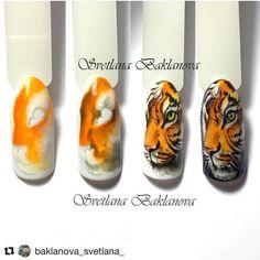 Unique Christmas Nail Art Ideas and Designs Animal Nail Designs, Animal Nail Art, Diy Nail Designs, Nail Art Diy, Nail Manicure, Diy Nails, Sunflower Nail Art, Tiger Nails, Crazy Nail Art