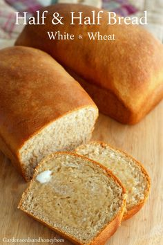 Half and Half White and Wheat Bread - Garden Seeds and Honey BeesBest Picture For Bread Recipes Homemade For Whole Wheat Bread Machine Recipe, Bread Machine Wheat Bread Recipe, Best Whole Wheat Bread, White Wheat Bread, Bread Maker Recipes, Yeast Bread Recipes, Banana Bread Recipes, White Whole Wheat Bread Recipe, Whole Wheat Honey Bread Recipe