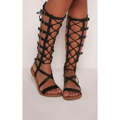 21c8b684d31 Emmie Black Lace Detail Gladiator Sandals ( 33) ❤ liked on Polyvore  featuring shoes