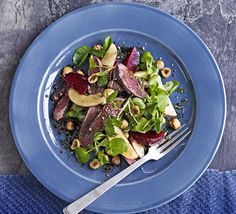 Pan-fried game turns a simple salad into a special dish. Contrast the meat with apples and beetroot, and add texture with hazelnuts
