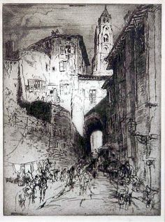 Sir Frank Brangwyn (British, 1867-1956) Street in Peking, c1930. Etching