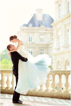 Dramatic lift in front of romantic French Wedding Chateau on French Wedding Style © – Emm and Clau Photography