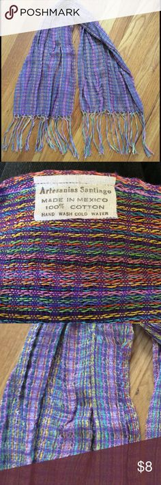 "NWOT Artisan Woven Scarf made in Mexico NWOT Artisan Woven Scarf made in Mexico. NEVER WORN.  Great colors as you can see in the pictures! Measures 15"" wide & is 55"" long including the fringe on the ends. Great accessory for your blouses & tops! Accessories Scarves & Wraps"