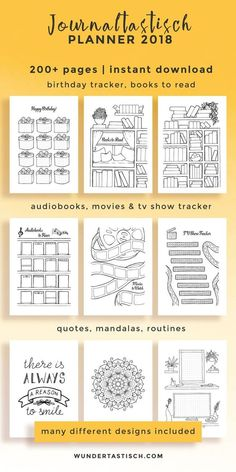 Don't miss out on this over 200 printables strong personal planner It is based on my personal bullet journal and allows you to be creative while increasing your productivity every month. It comes with fun pages like books to read, movies to watch bu Bullet Journal Inspo, Bullet Journal 2018, Bullet Journal Books, Bullet Journal Printables, Journal Template, Bullet Journal Ideas Pages, Planner Template, Book Journal, Printable Planner