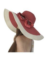 38fa26e2732 Luxury Lane Womens Deep Pink Floppy Sun Hat with Leopard Print Bow Floppy  Sun Hats
