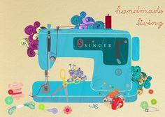 now this is my vintage sewing machine learned to sew on this baby - Handmade Living-art print by Sevenstars Sewing Hacks, Sewing Tutorials, Sewing Crafts, Sewing Projects, Sewing Patterns, Sewing Blogs, Sewing Ideas, Vintage Sewing Machines, Illustration