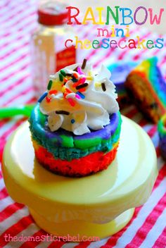Rainbow Mini Cheesecakes are such a fun dessert to make with the kids! Vanilla cheesecake gets a super cool update with a simple rainbow swirl.