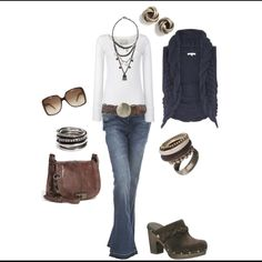 Navy & Brown outfit. Love the bag!! I have a green vest I could wear with matching necklace to tie it in.