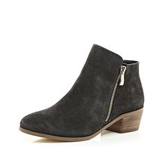 Grey suede zip side ankle boots