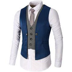 DAVID.ANN Men's Business Suit Vest ($23) ❤ liked on Polyvore featuring men's fashion, men's clothing, men's outerwear, men's vests, mens vest outerwear and mens vest