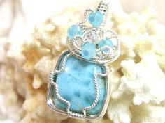 17x14.5 Larimar Pendant Wire Wrapped Solid Sterling Silver 935 Argentium Anti Tarnish wire by JewelrybyPatterson on Etsy