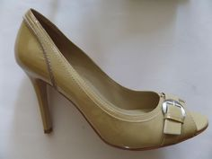 ENZO ANGIOLINI Murray Peep Toe Heels Shoes Size-7 M Beige Pat. Nice!  #EnzoAngiolini #OpenToe