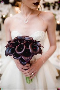 Madame Merlot (With images) Simple Elegant Wedding, Perfect Wedding, Wedding News, Wedding Styles, Calla Lily Bouquet, Black Tie Affair, Dark Lips, Flawless Face, Floral Wedding