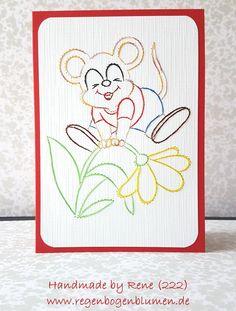 Geburtstag - Fadengrafik Grußkarten Set 222 Kleines Mäuschen - ein Designerstück von Bastelfan1809 bei DaWanda