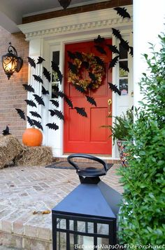 Halloween Front Porch With Bats Across Door by Between Naps on the Porch