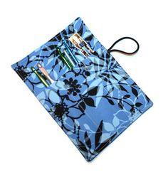 Crochet Hook Cozy Roll  Tropical  Blue
