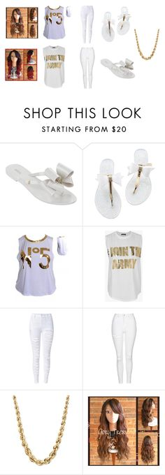"""""""gold & white"""" by arie-boi on Polyvore featuring Melissa, Balmain and Topshop"""