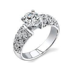 Simon G Filigree Engagement Ring ($96) ❤ liked on Polyvore featuring jewelry, rings, simon g jewelry, engagement rings, filigree ring, filigree engagement ring and filigree jewelry